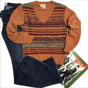 Vintage 1970s Collageman Orange Acrylic Sweater